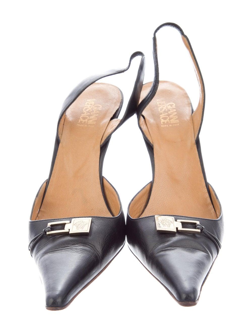 Gianni Versace Leather Slingback Pumps Black - image 3