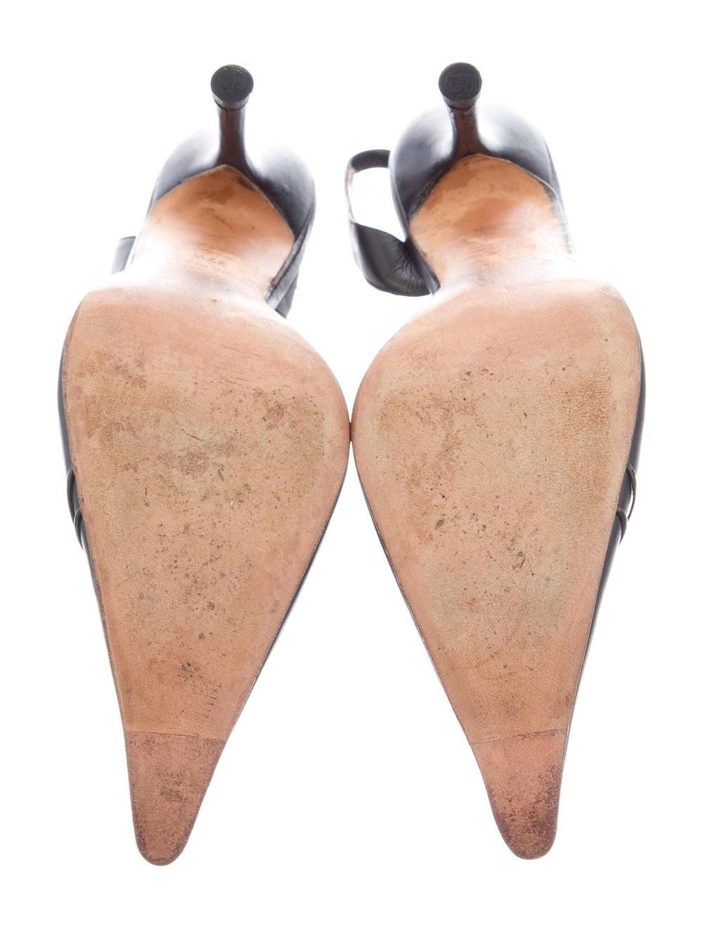 Gianni Versace Leather Slingback Pumps Black - image 5