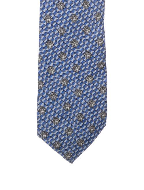 Gianni Versace Silk Printed Tie blue