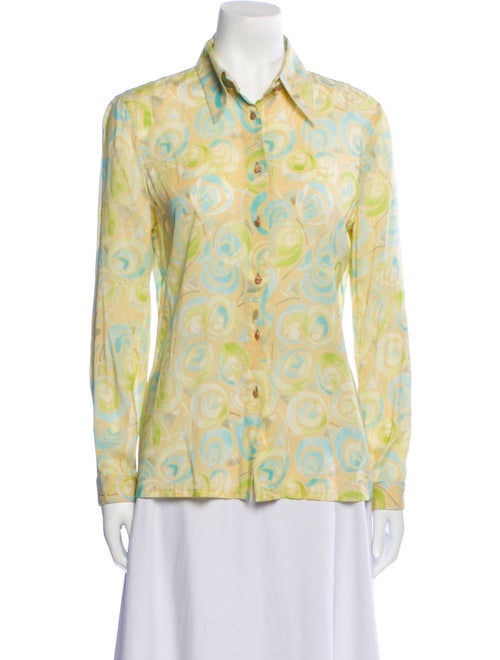 Gianni Versace Silk Printed Button-Up Top Yellow