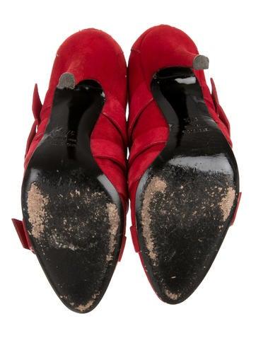 Suede Buckle-Embellished Booties