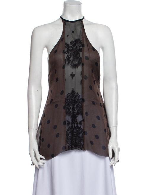 Haider Ackermann Silk Printed Top Black