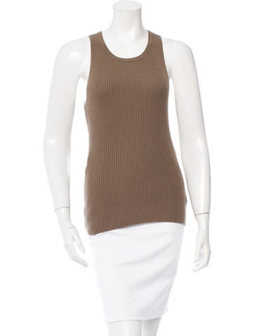 Halston Sleeveless Cashmere Top None