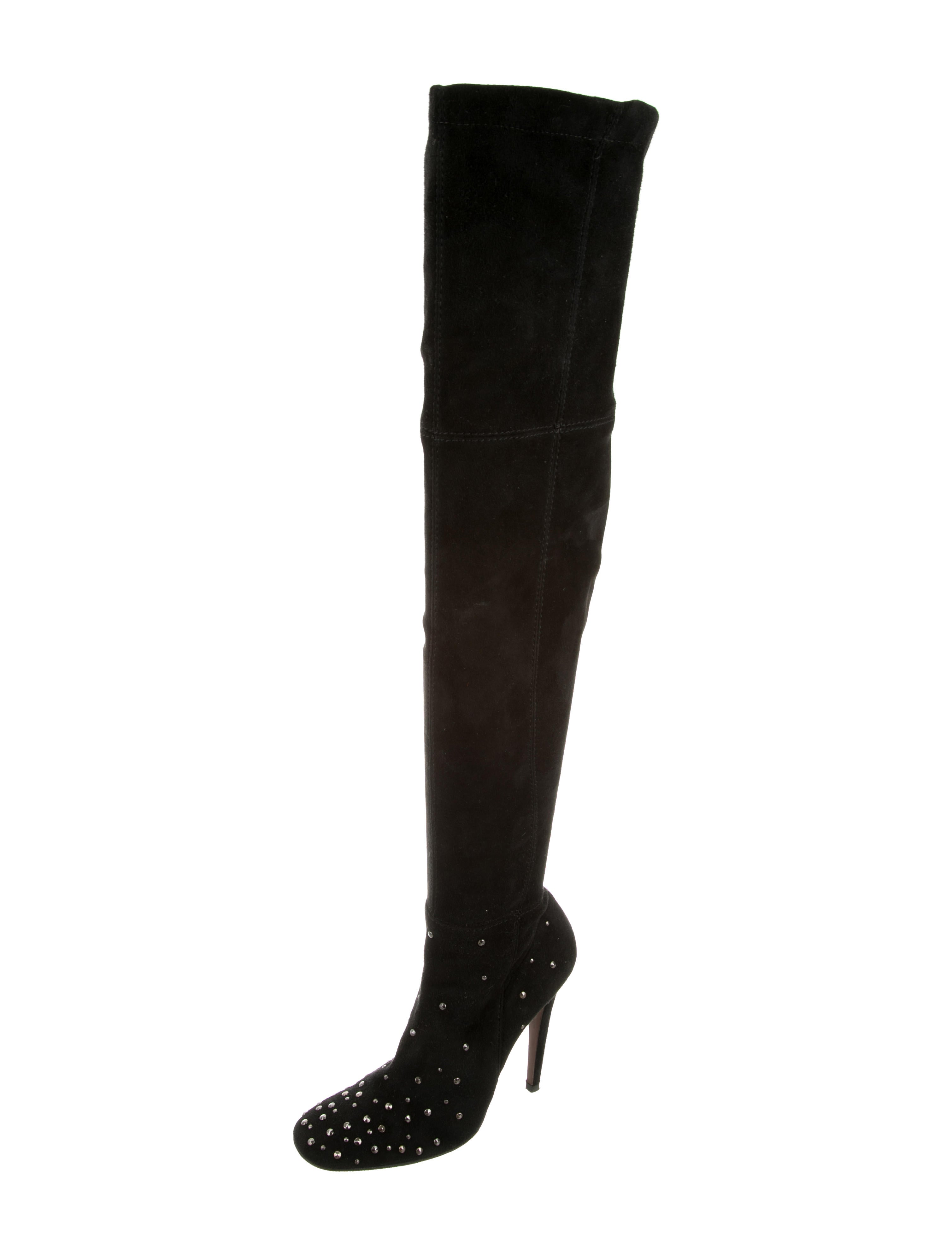 suede studded thigh high boots shoes hal20598