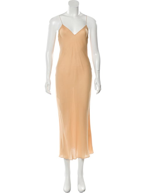 Halston Maxi Slip Dress Orange
