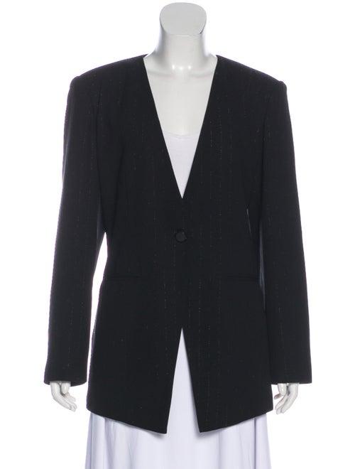 Halston Striped Collarless Blazer Black