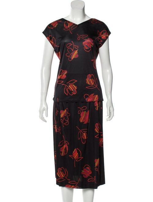 Halston Floral Print Skirt Set Black