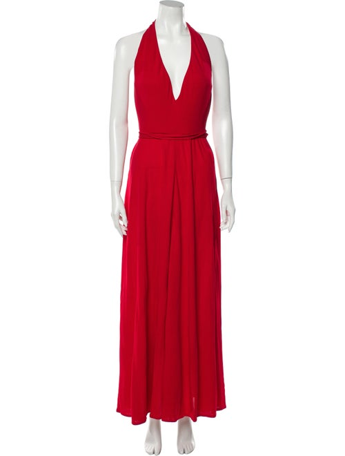 Halston Halterneck Long Dress Red