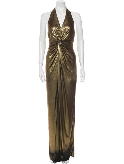 Halston Halterneck Long Dress Gold