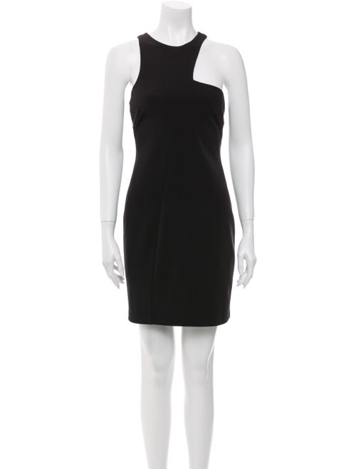 Halston One-Shoulder Mini Dress Black
