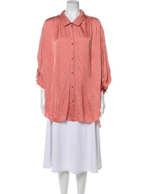 Halston Three-Quarter Sleeve Tunic Pink