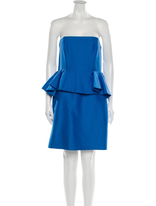 Halston Strapless Mini Dress Blue