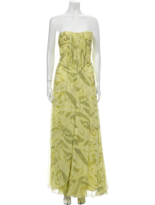 Halston Silk Long Dress Green
