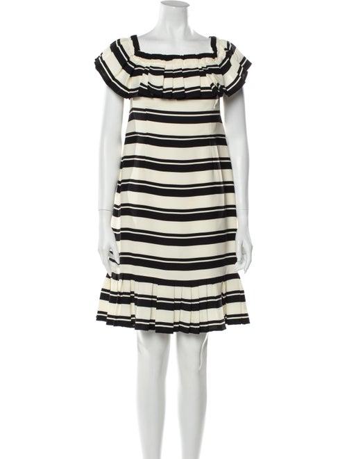 Halston Striped Mini Dress Black