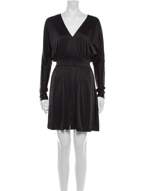 Halston V-Neck Mini Dress Black