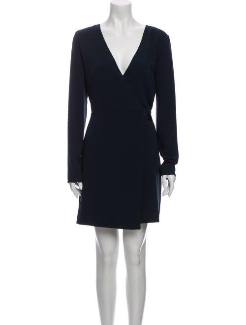 Halston Silk Mini Dress Blue