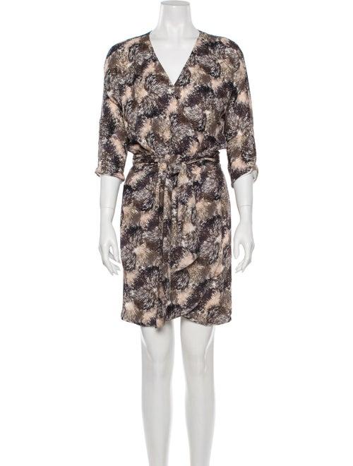 Halston Silk Mini Dress Brown
