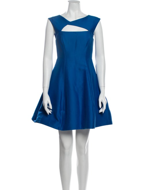 Halston Scoop Neck Mini Dress Blue