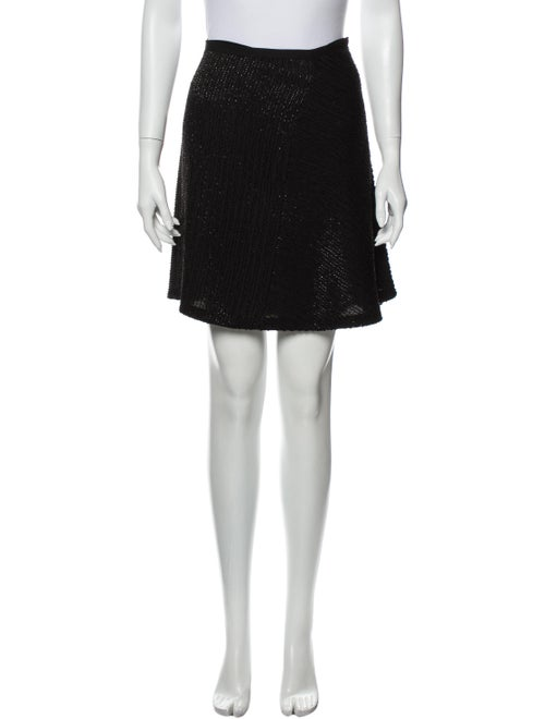 Halston Sequin Embellishments Mini Skirt Black