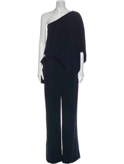 Halston One-Shoulder Jumpsuit Blue