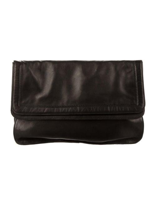 Halston Leather Clutch Black