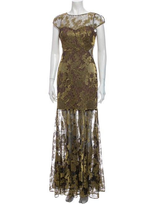 Halston Lace Pattern Long Dress Gold