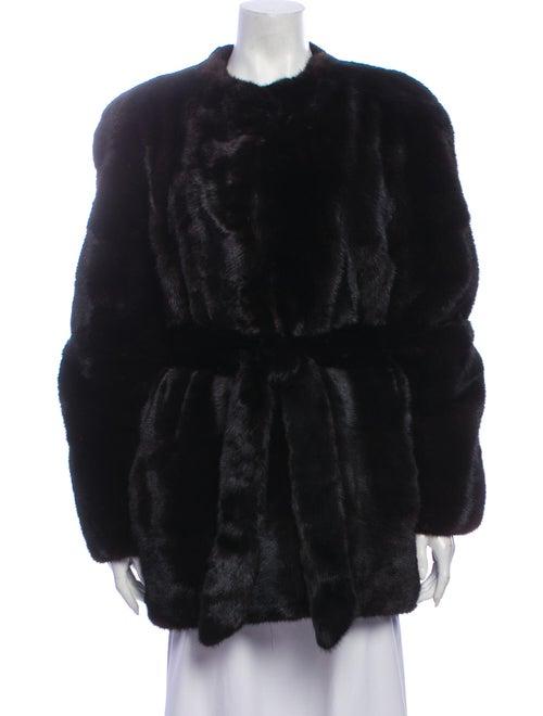 Halston Fur Coat Brown