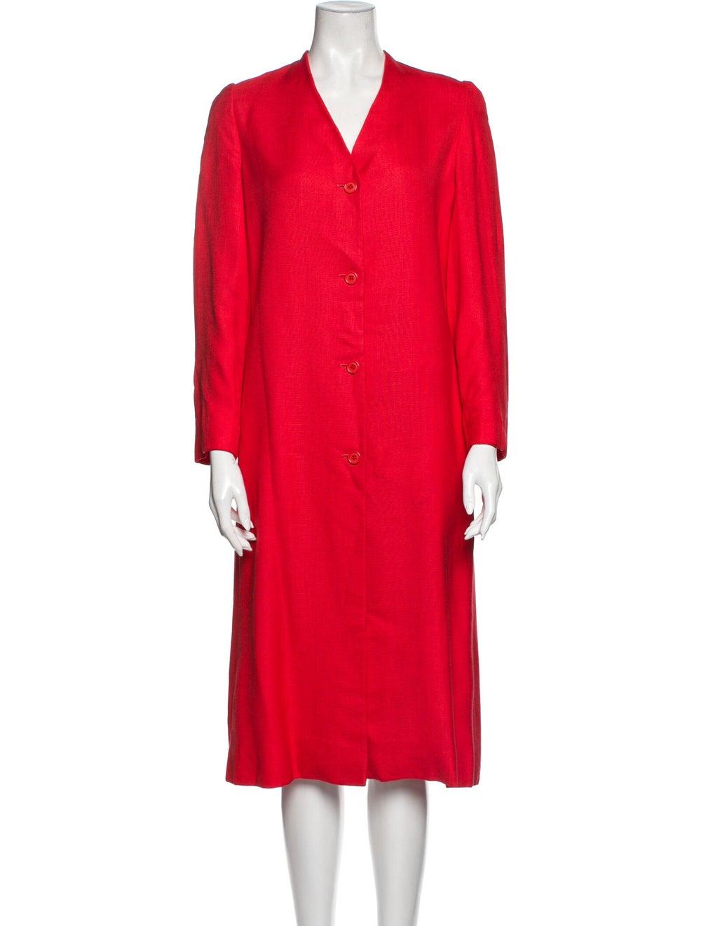 Halston Vintage Midi Length Dress Red - image 1