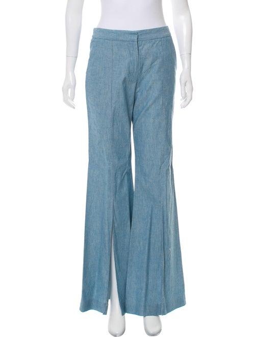 Hellessy Wide-Leg Chambray Pants blue