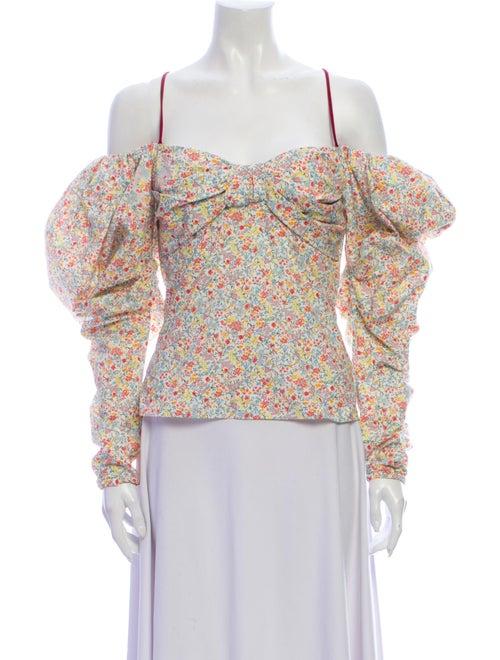 Hellessy Floral Print Off-The-Shoulder Blouse