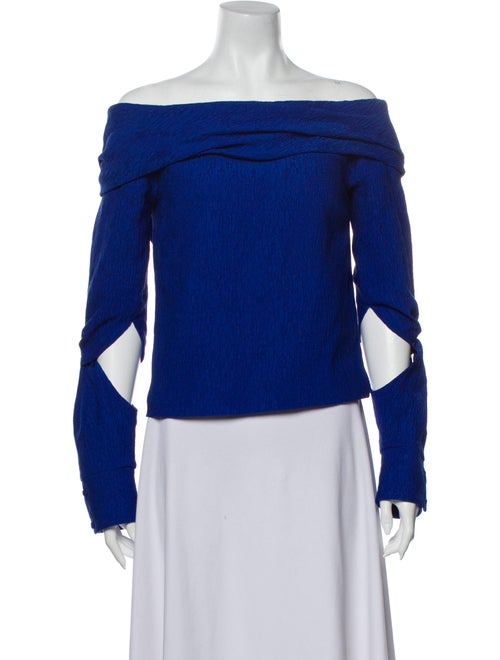 Hellessy Off-The-Shoulder Long Sleeve Top Blue