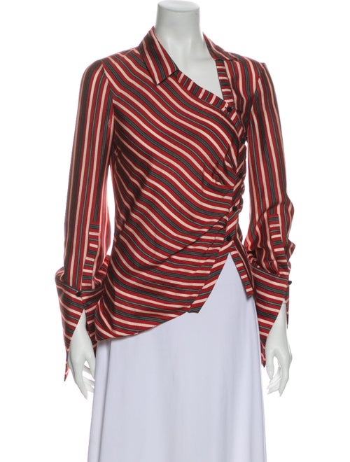 Hellessy Silk Striped Blouse Red