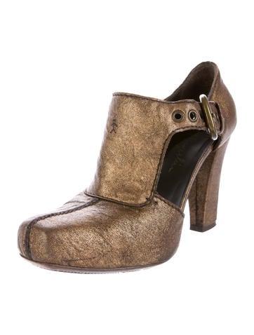 Metallic Square-Toe Booties