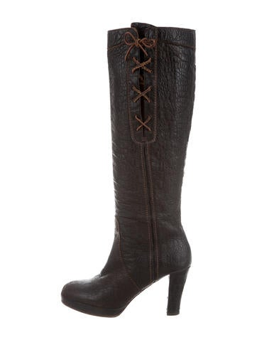 Henry Beguelin Embossed Leather Knee-High Boots None