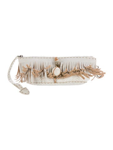 Henry Beguelin Fringe Embossed Leather Clutch None