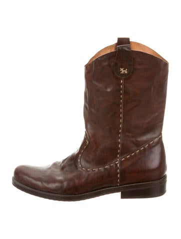 Henry Beguelin Leather Round-Toe Boots None