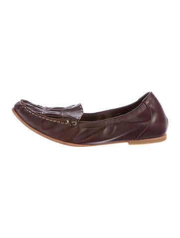 Henry Beguelin Round-Toe Leather Flats None