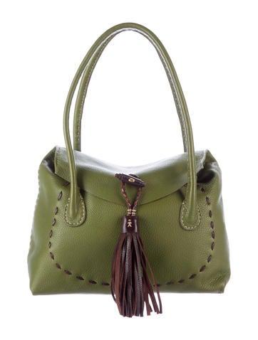 Henry Beguelin Tassel-Accented Leather Shoulder Bag None