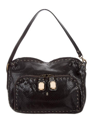 Henry Beguelin Embossed Leather Handle Bag None