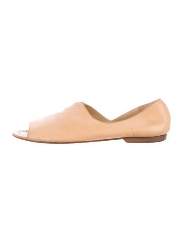 Henry Beguelin Peep-Toe Leather Moccasins None