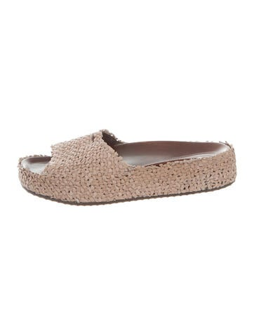 Henry Beguelin Leather Suede Slide Sandals None