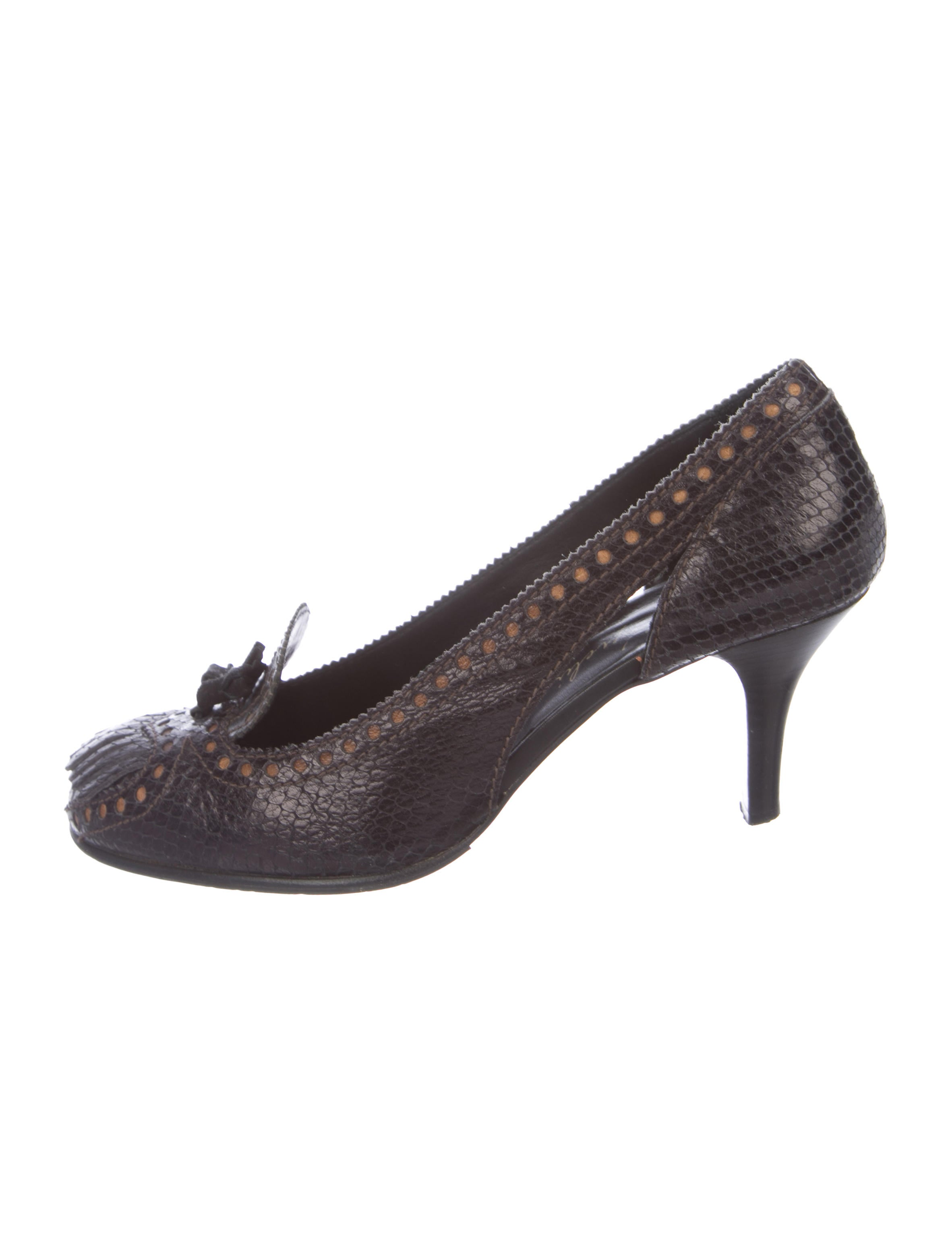 sale Inexpensive ebay sale online Henry Beguelin Embossed Leather Platform Pumps Lc33xbo