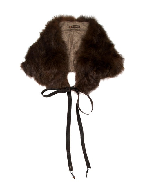 Henry Beguelin Shearling Shawl Brown