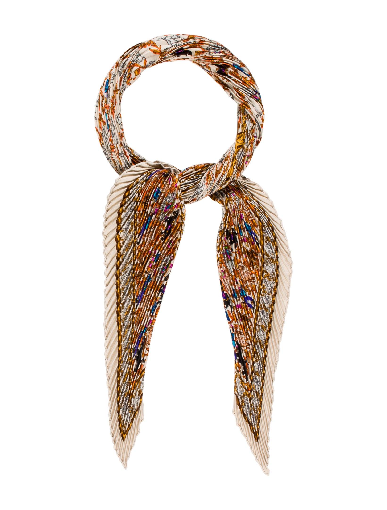 herm 232 s chasse en inde silk pliss 233 scarf accessories