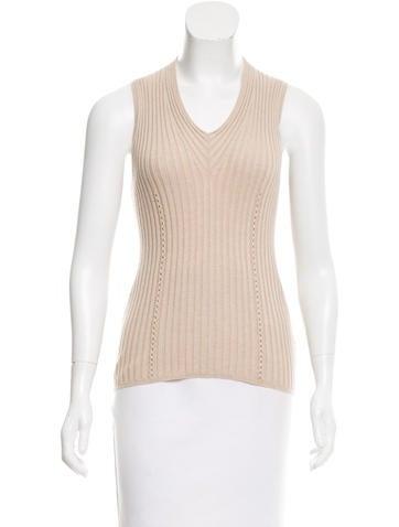 Hermès Sleeveless Rib Knit Top None