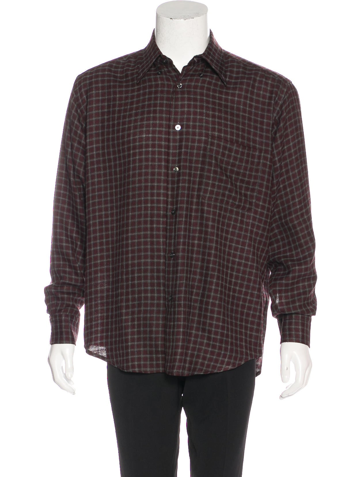 Herm S Wool Check Flannel Shirt Clothing Her109421