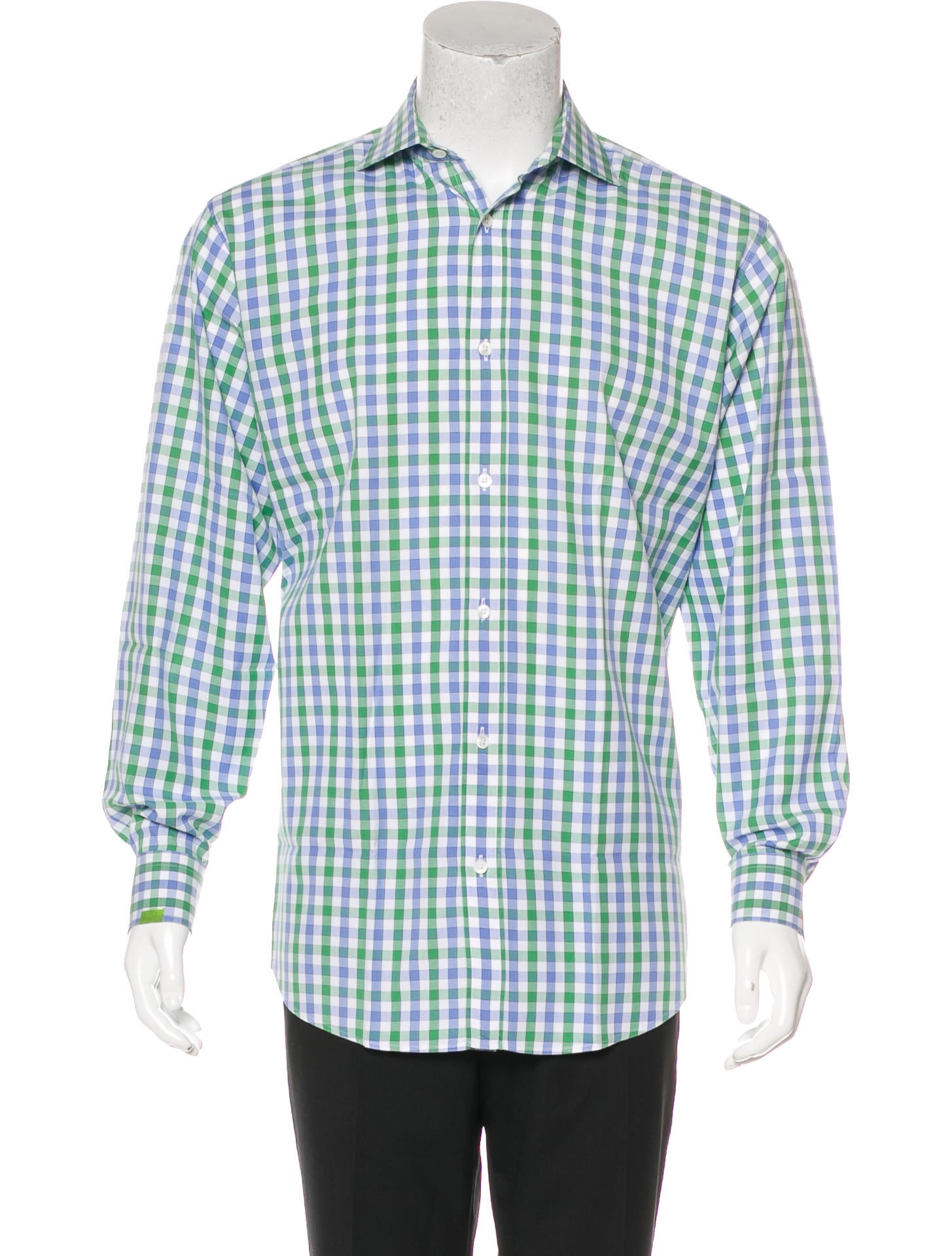 Herm s gingham dress shirt clothing her114209 the for Mens green gingham dress shirt
