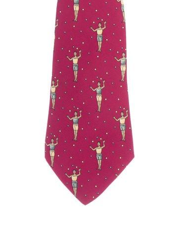 Hermès Man Print Silk Tie None