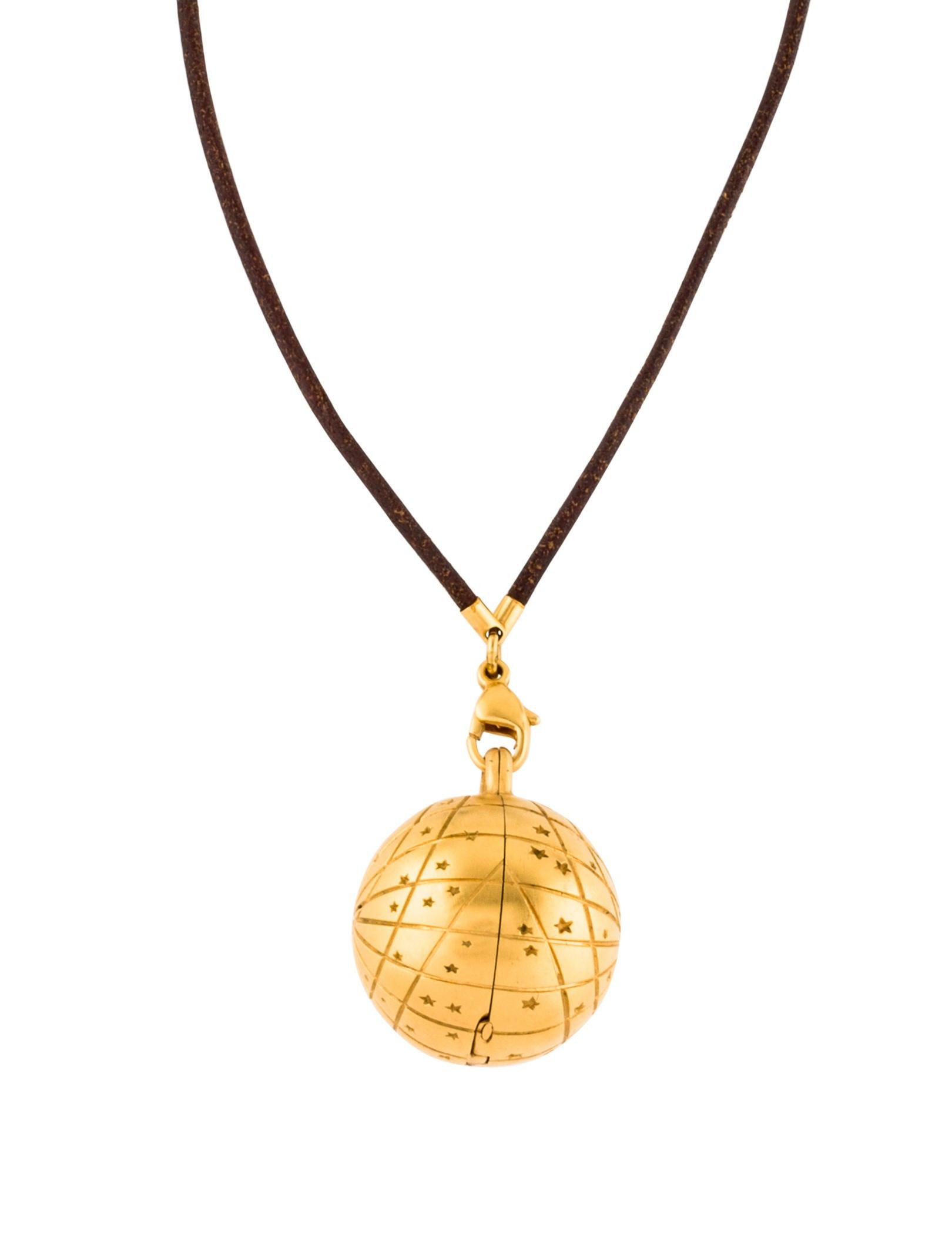 Herms zodiac globe pendant necklace necklaces her121556 the zodiac globe pendant necklace aloadofball Choice Image
