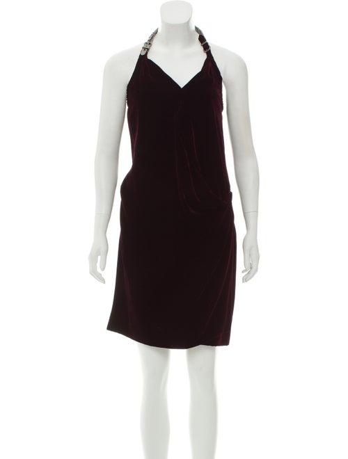 Hermès Velvet Open Back Dress Plum